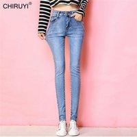 Chiruyi nouveau jean slim pour femmes maigre taille haute jeans femme bleu denim crayon pantalon de crayon étirement femme jeans 201030
