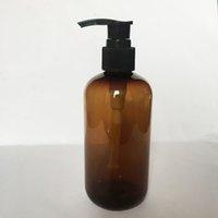 20PCS / LOT, 250ML PET loção Bomba Garrafa, Amber plástico recipiente cosmético, vazio Shampoo-engarrafamento Sub, Garrafa de Óleo Essencial