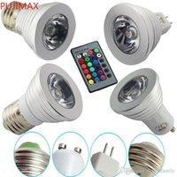 LED RGB Ampoule 3W 16 Couleur Changement de couleur 3W LED Spotlights RGB LED Lampe d'ampoule E27 GU10 E14 MR16 GU5.3 avec 24 clés Télécommande 85-265V 12V