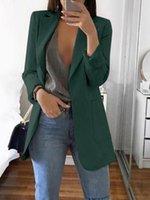Frauen Blazer Casual Langarm Blazer Plus Size Office Dame Anzug Jacke Ol Abwickelkragen Frau Mantel Strickjacke Formale Blazer 201201