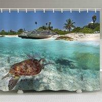 المياه الضحلة الشفافية بحر السلاحف السباحة البوليستر السلاحف الحمام النسيج دش الستار بطانة ماء البوليستر الستار 12 هوك LJ201130