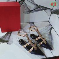 ENTREGA GRATUITA Moda Venda Quente - 2021 Couro Feminina Mulheres Feminina Mulheres Sexy Rebite Sandálias Plana Vestido Sapatos Festa Sexy Apontado Sapatos Flat