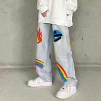 High Street Graffiti de tamanho grande Jeans para homens e mulheres Harajuku Lavados Retro Casual calças jeans retas solto Jean Calças