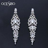 OCESRIO Long Crystal Hochzeit Ohrringe für Bräute Leuchter-Silber-Tropfen Ohrringe Hochzeit Accessoires Mode Schmuck ers-n58