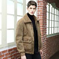 Cuir pour homme Faux Automne Hiver Jacket Hommes Vestes de fourrure naturelle Véritable manteau de mouton de mouton Vintage Erkek Mont 340 KJ800