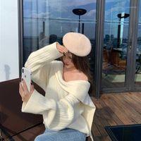 Kadın Kazak Sonbahar ve Kış Moda Tasarım Anlama Saf Renk Uzun kollu Kazak Tüm Maç Gevşek Üst Kadın Giyim1