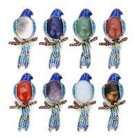 Pins, Broches Linda Animais Papagaio Mulheres 68x32mm Natural Tiger Eye Stone Cabochões Pins Emblemas Broche Festa De Jóias Acessórios