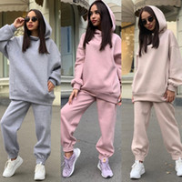 Women Tracksuits Two Pieces Set New Fashion Solid Hooded Swe...