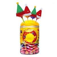 6 stücke Santa / Elf Hut Weihnachten Besteck Halter Inhaber Taschen Messer Löffel Gabeltasche Wein Flasche Mütze Topper Candy Cover Party Decors1