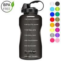 Quifit 2L 3.8L Gallone Tritan Sportwasserflasche mit Stroh Big Protein Shaker Drink Flaschen Gourd Cup Jug BPA Kostenloses Outdoor Gym LJ200821