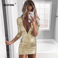 Günlük Elbiseler Elsvios 2XL Sequins Altın Elbise 2021 Bahar Derin V Yaka Zarif Parlak Parti Kadınlar Uzun Kollu Mini Bodycon Vestidos1