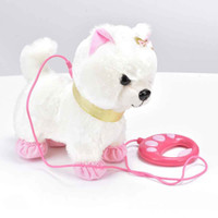 Robot Dog Sound Control Interactive Dog Electronic Toys Plush Puppy Pet Walk Bark Leash Teddy Toys For Children Birthday Gifts LJ201105