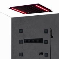 Completa Matt Black Body Jets Spa Shower sistema embarcado teto Grande Rainfall LED Showerhead High Flow termostática Shower Mixer Válvula Set