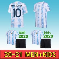 Argentina jugador fans maillot de pie maradona 2020 2021 camisetas polo messi dybala dimaria aguero lautaro hombres kits de niños camisa de fútbol pan