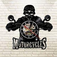 Relógio de parede LED design moderno motocicletas motocicletas rei crânio vinil registro relógio orologio da parete crânio motociclista presente t200601