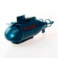 Versión actualizada HappyCow 777-216 Mini RC Submarino Barco de velocidad Control remoto Drone Pig Boat Simulación Modelo de regalo Juguete Niños Azul