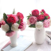 9 Kafalar / Set Yapay Çiçekler Ipek Avrupa Güz Canlı Şakayık Sahte Yaprak Düğün Buket Ev Partisi Dekorasyon