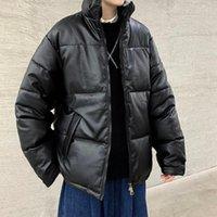 Уюк зима новая парка мужская куртка PU тканью свободный хлопок мягкий для мужской одежды для искусственной кожи из искусственной кожи