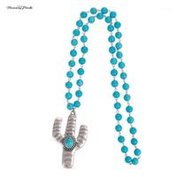 Banny Pink New Hope Big Cactus Pendant Necklace For Women Bohemia Round Stone Beads Statement Long Necklace Ethnic Sweater Chain1