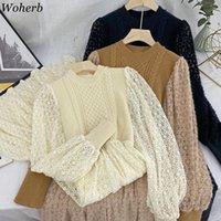 WOHERB Moda Örme Patchwork Sahte İki Elbise Kadın 2021 Bahar Yeni Kadın Zarif Puf Kollu Dantel Elbiseler Kore Vestidos