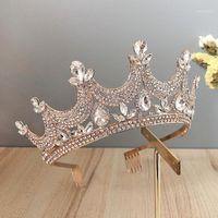 Diğer Retro Barok Tarzı Parlayan Kristal Kraliyet Prenses Diadem Tiaras Ve Taçlar Gelin Noiva Gelin Düğün Peçe Saç Jewelry1