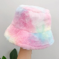 Tie Dye Hats Plush Bucket Hat Women Fishman Caps Warm Cap Gi...