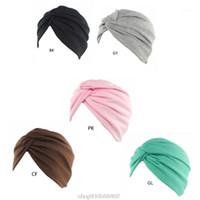 Womens Solid Color Color Plain Twist Pleated Hair Turban Cap Head Wrap Chemo Beanie N19 20 Dropshipping1