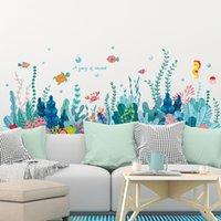 [Shijuehezi] Pegatinas de pared de algas marinas DIY Peces de agua Plantas de agua Calcomanías para niños Habitación Baño Baño Decoración del hogar 201130