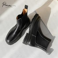 Prowow New Style Black Genuine Leather Women Ankle Boots Round Toe Slip On Thick Mid Heel Women Autumn Winter Boots Shoes Woman