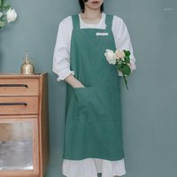Apron cotton and linen simple style denim high- grade simple ...