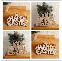 Pâques de décoration en bois de Pâques Bunny Happy Pâques Porte Pendentif Ornements Ornements Diy Wood Bois Craft Pâte Party Décor pour la maison EED4214