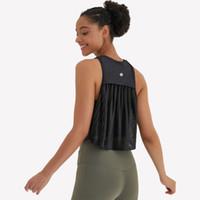 Kadın Yoga Tops Kolsuz Örgü Tankları Yelek Pileli Buruşuk Spor Bluz Fitness Yoga Hızlı Kuru Katı Renk Moda Açık Yoga T-Shirt