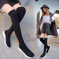 Сапоги HKXN 2021 Весна эластичная над коленами Женщины Носки черные длинные бедра высокие вязальные кроссовки Y21