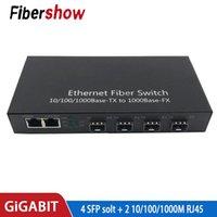 Netzwerkschalter Gigabit Ethernet Switch Faser Optical Media Converter 4 SFP 2 RJ45 10/100 / 1000m UTP-Anschluss
