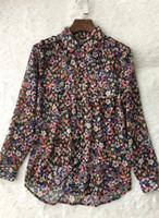 2017 긴 소매 턴 다운 칼라 꽃 - 인쇄 패션 레이디 Kooples 탑스 블라우스 봄 여름 최신 TK 여성 블라우스 셔츠