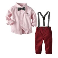 Fashion 2Pcs Autumn Winter Spring Infant Baby Boys Clothes Tops Shirt Bib Pants Gentleman Xmas Outfit Set Clothing