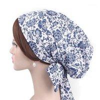 Bonnet / Crâne Caps Casquettes Spring Cotton Head Portez des bonnets musulmans Femmes 2021 Chimiothérapie Cap Fleur Grid Grid Fashy Dame dans Mois Chapeaux Accessoires1