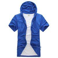 Felpa con cappuccio (10 colori) T-shirt a manica corta a maniche corte, estate maschile New Solid Casual Cardigan Cardigan