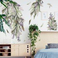 Nordic estilo DIY folhas adesivos de parede para Quarto Sala Decoração auto-adesivo Porta do Windows decalques Art Home Decor