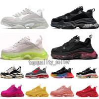 2021 Nueva Moda Clear Sole Paris 17FW Triple S Mujeres Hombres Zapatos Casuales Vintage Papá Plataforma Negro Blanco Pink Gris Deportes Deportes Zapatillas deportivas
