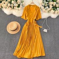 AIBEAuty Summer Casual Romantische Urlaub Langes Kleid Elegante feste plissee koreanische koreanische kürzende Kurzarm A-Line Frauen Kleider