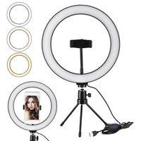 Selfie Anel LED Light Stand 26 cm 10 polegadas Dimmable mini tripé para para smartphone youtube tiktok maquiagem video estúdio tripé tiro luz