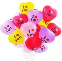 100pcs / pack Ballon de forme de coeur 12 pouces Valentines Jour de la Saint Valentin pour la fête de mariage Je t'aime Lettres Ballons Fournitures E122310