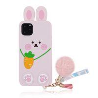 Bella custodia per telefono in silicone morbido coniglio per iPhone 12 11 Pro Max XR XS 7 8 PLUS con nappe cassa della ragazza rosa