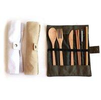 Conjuntos de lavais de bambu natural conjuntos de cutelaria de viagem faca faca colher palha e limpeza escova de acampamento escritório de almoço de cutelaria com
