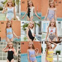 Kid maillot de bain petite fille fille maillot de bain bikini baigneur lettre imprimé léopard cravate colorant bébé nager usure