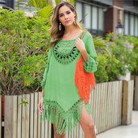 Longue couverture de plage pour femmes crochets Beachwear Beachwear Rouge Skydress Manches Bikini Bikini Bikini Beach Robe Solid 2020 Nouveau 12 couleurs1