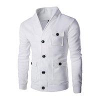 Giacche da uomo Mens Fashion Collar Cardigan Maglione Solido Colore Solido Big Tasca Decorativa Giacca Cappotto Men Sprima Autumn Male Tops 2Colour