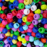 DIY doces frouxos 100 pcs um conjunto 7 * 7mm cores crianças macropore beading jóias acrílico artesanal fazendo benefício inteligência 1 6yj m2
