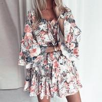 Fargeous Boho Imprimir Holiday Vestido Curto Verão Mulheres Moda V Pescoço Lace Up Ruffle Manga Flaral Mini Vestido Casual Praia Vestido T200517